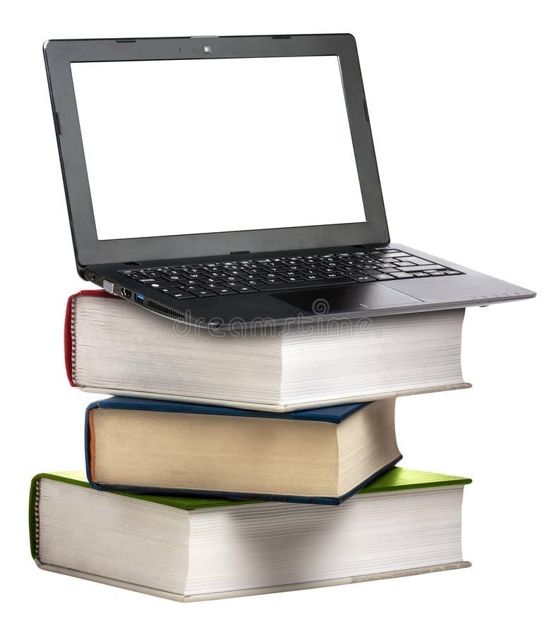 Il libro del computer portatile del computer prenota l'istruzione isolato immagine stock libera da diritti