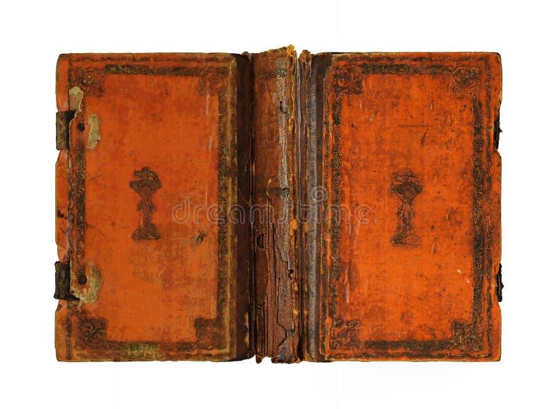 Il libro di cuoio arancio d'annata catturato si è aperto dal lato esterno fotografia stock libera da diritti