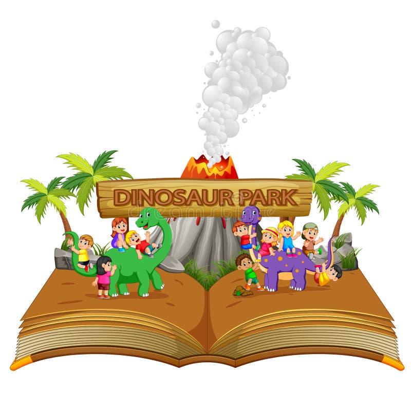 il libro di fiabe con i bambini che giocano il dinosauro ed il vulcano illustrazione vettoriale