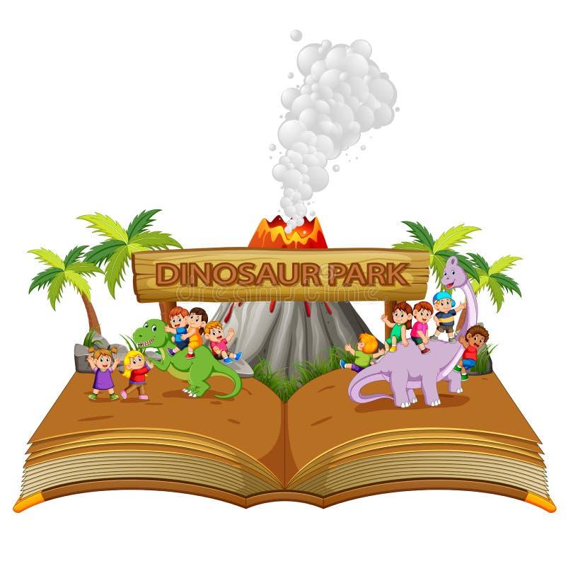 il libro di fiabe dei bambini che giocano con il dinosauro sul parco del dinosauro royalty illustrazione gratis