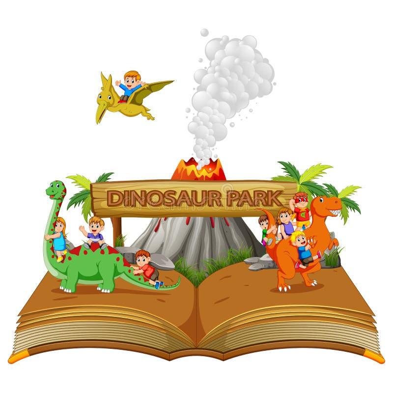il libro di fiabe del parco del dinosauro con i bambini ed il vulcano illustrazione vettoriale