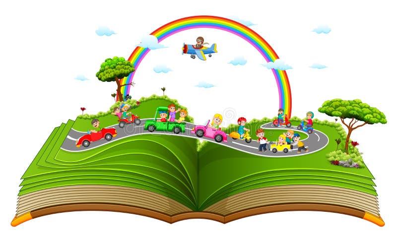 Il libro di fiabe meraviglioso con i bambini che giocano nell'automobile illustrazione di stock
