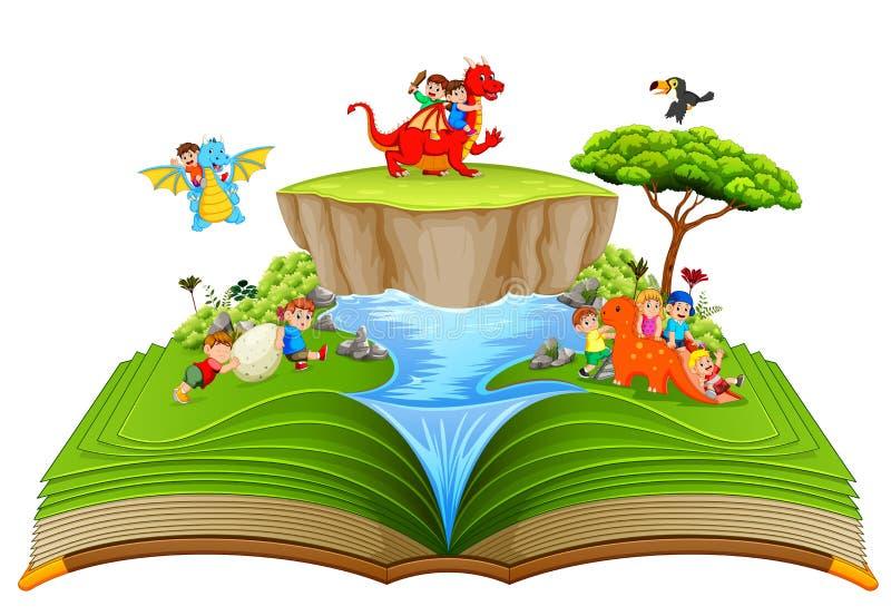 Il libro di fiabe verde dei bambini che giocano con il drago vicino al fiume royalty illustrazione gratis