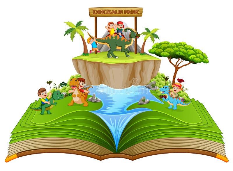 Il libro di fiabe verde del parco del dinosauro con i bambini che giocano vicino al fiume illustrazione vettoriale