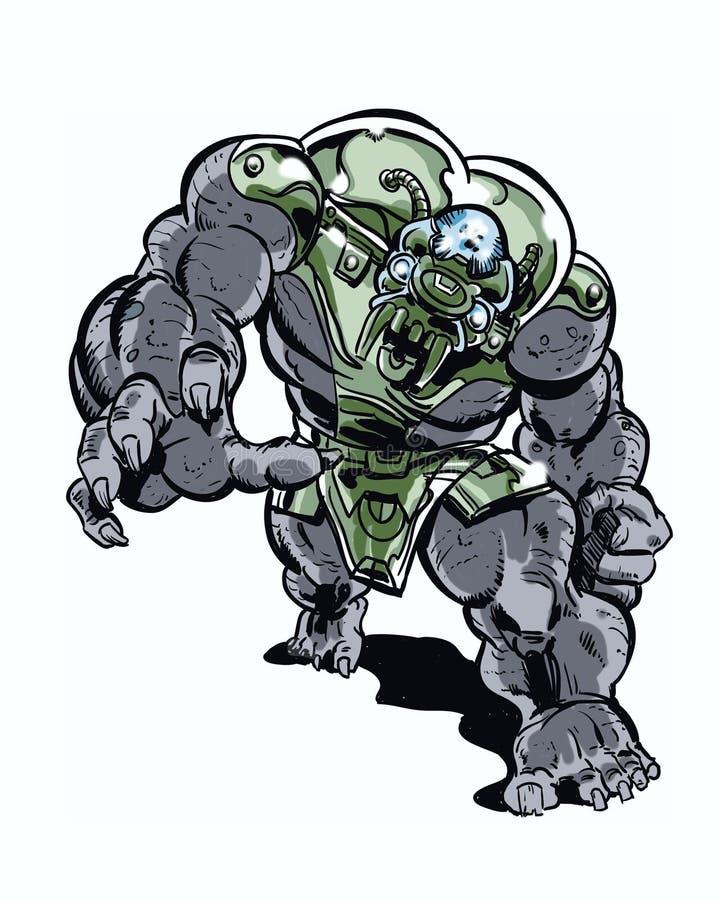 Il libro di fumetti ha illustrato il carattere estremo del mostro del metallo che sbanda in avanti royalty illustrazione gratis