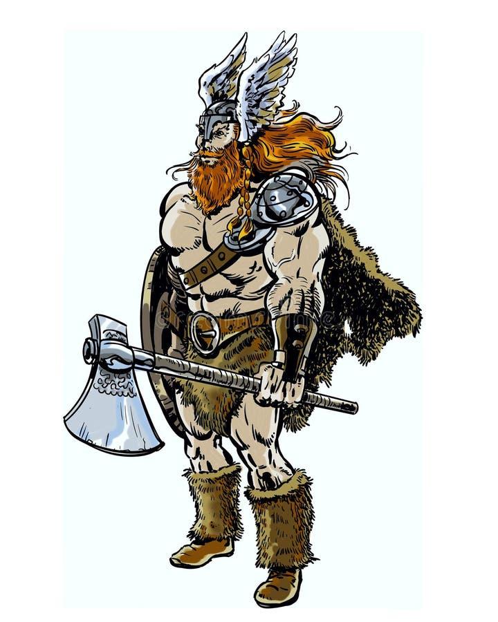 Il libro di fumetti ha illustrato il guerriero maschio di Viking con un'ascia e uno schermo illustrazione di stock
