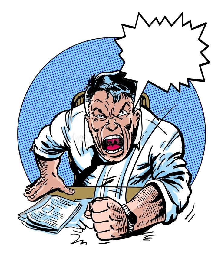 Il libro di fumetti ha illustrato il carattere arrabbiato del responsabile con il pallone di dialogo illustrazione di stock