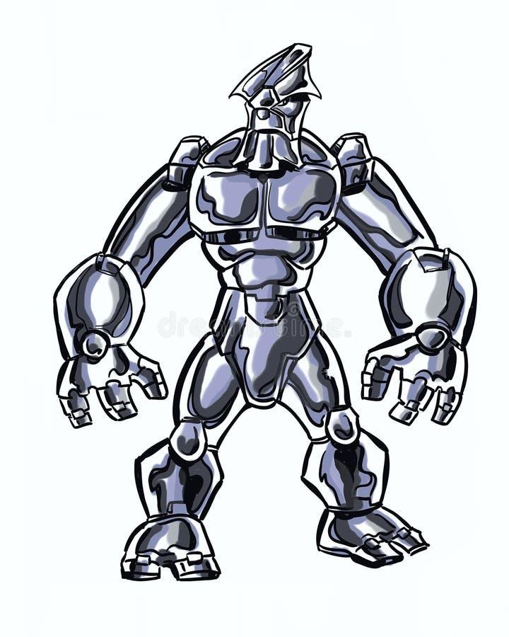 Il libro di fumetti ha illustrato il carattere cosmico con una spada nella posa di azione illustrazione di stock