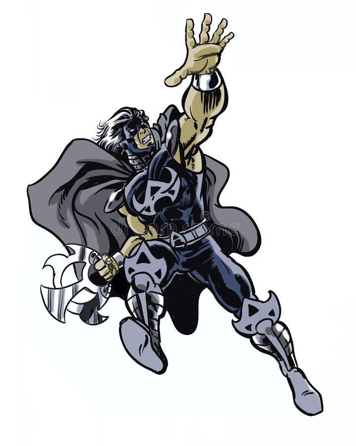 Il libro di fumetti ha illustrato il carattere del guerriero della lama nella posa di azione illustrazione di stock