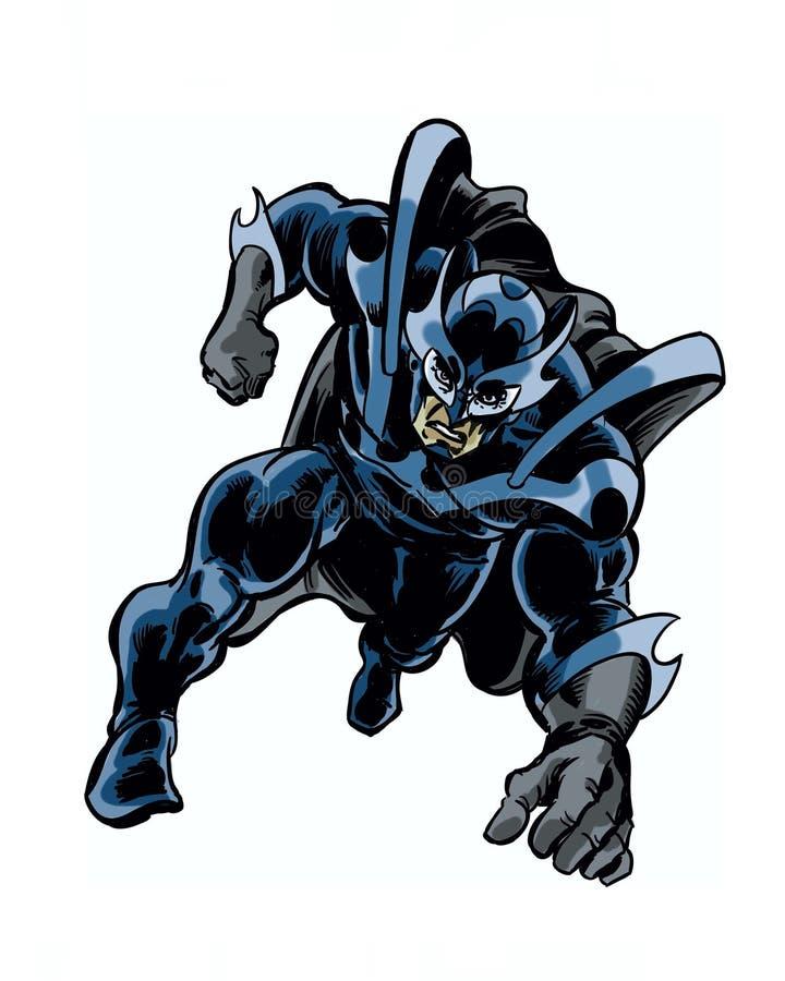 Il libro di fumetti ha illustrato l'eroe del cavaliere dell'ombra nella posa di azione royalty illustrazione gratis
