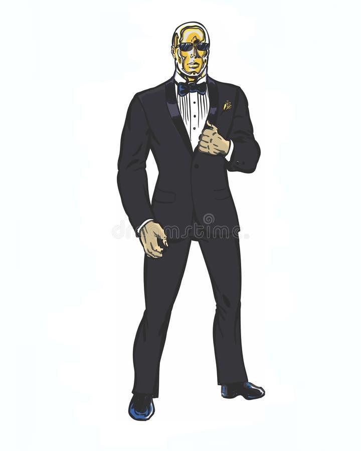 Il libro di fumetti ha illustrato l'uomo con una testa dorata che indossa uno smoking e una rosa dorata royalty illustrazione gratis
