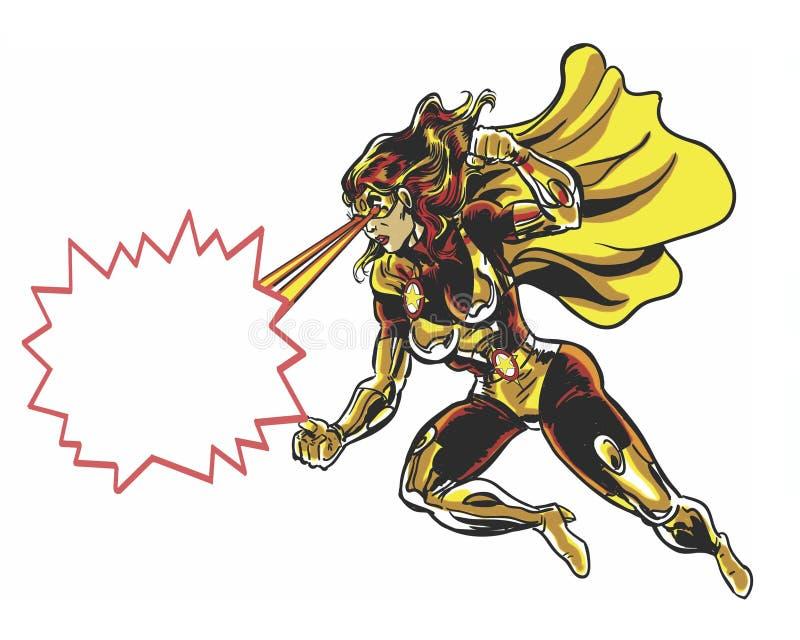 Il libro di fumetti ha illustrato la donna dorata alimentata cosmica con i fasci ed il messaggio dell'occhio royalty illustrazione gratis