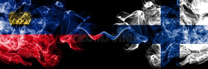 Il Liechtenstein, Liechtensteins, Finlandia, finlandese, bandiere fumose variopinte spesse della concorrenza di vibrazione Qualif royalty illustrazione gratis