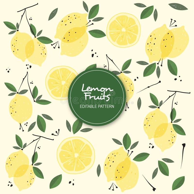 Il limone fruttifica modello editabile del fondo royalty illustrazione gratis