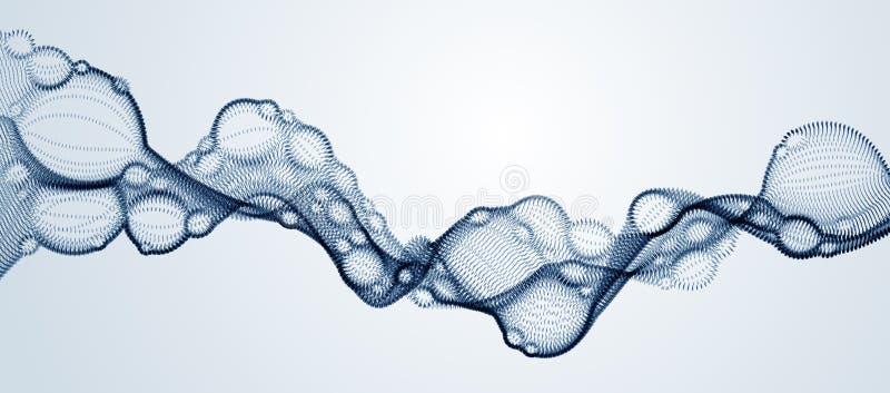 Il liquido biologico di vettore dell'estratto, ha punteggiato la forma orizzontale di flusso della particella di vettore, la tecn royalty illustrazione gratis