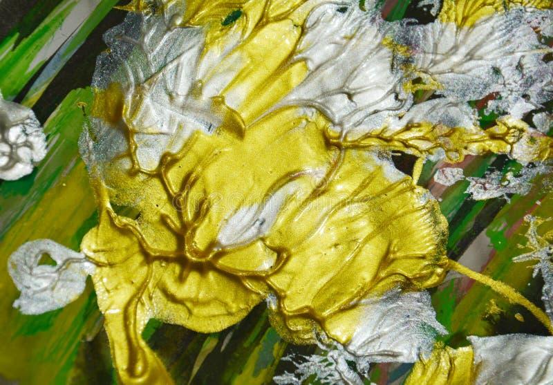 Il liquido d'argento arancio verde dorato segna la pittura dell'acquerello Fondo dell'estratto della pittura dell'acquerello illustrazione vettoriale