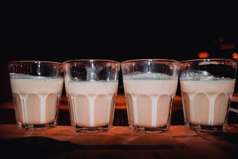 Il liquore di caffè, vetri di colpo con i baileys casalinghi, ha arrostito i chicchi di caffè ed il cioccolato, il fuoco selettiv fotografie stock libere da diritti