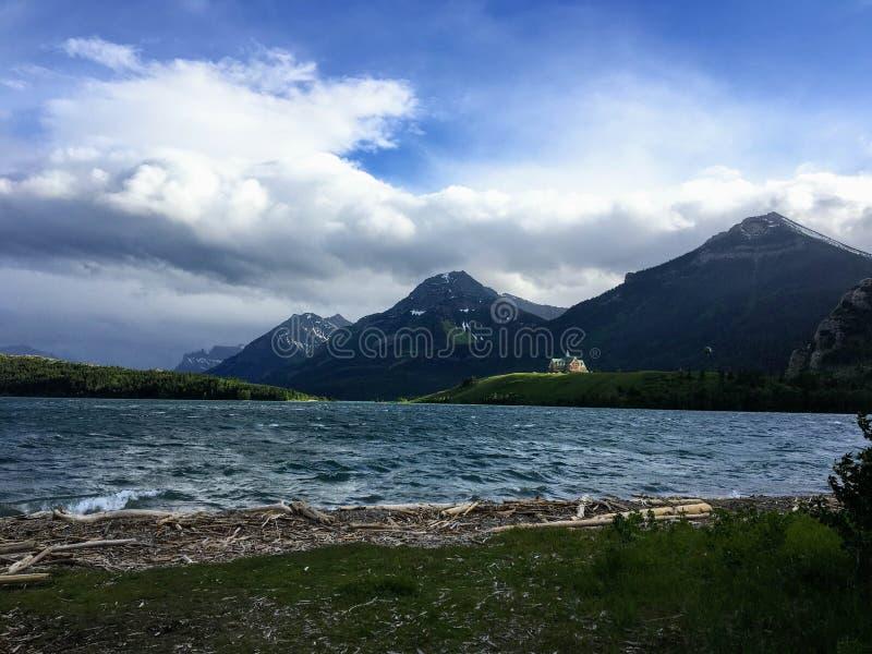 Il litorale del lago del waterton un giorno ventoso del ` s di estate immagine stock libera da diritti