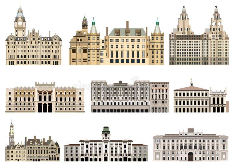 Il livello della raccolta di vettore ha dettagliato i comuni isolati, i punti di riferimento, le cattedrali, le tempie, le chiese illustrazione vettoriale