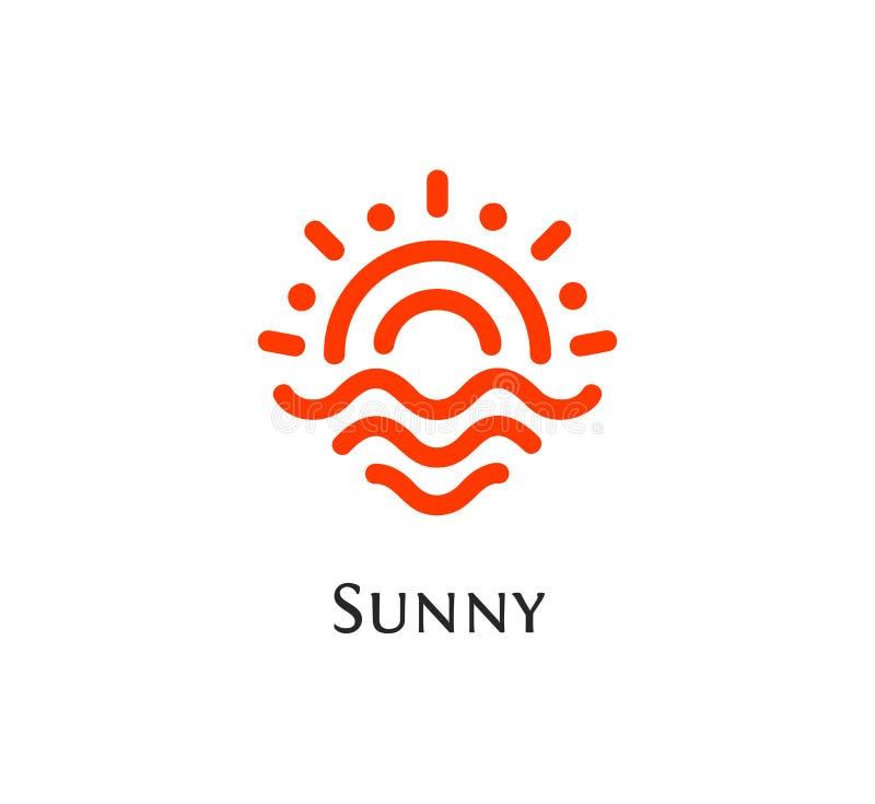 Il logo arancio astratto isolato di colore di forma rotonda, il sole ed il logotype delle onde vector l'illustrazione illustrazione di stock