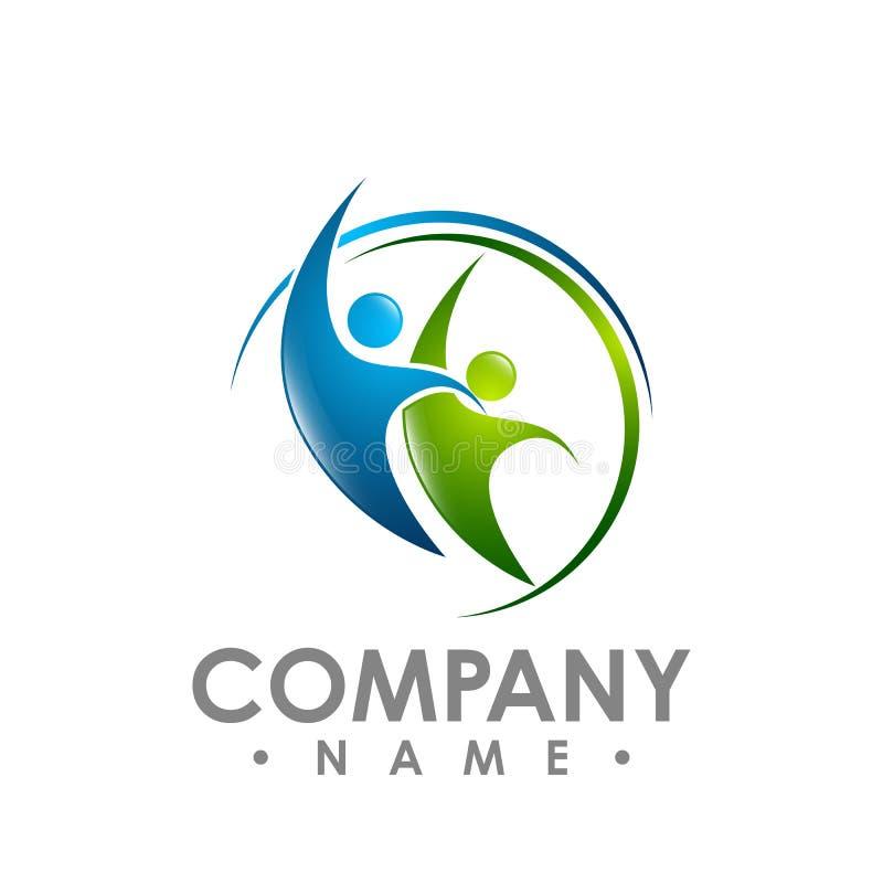 Il logo astratto di vettore della raccolta delle icone e di simboli della gente progetta illustrazione di stock