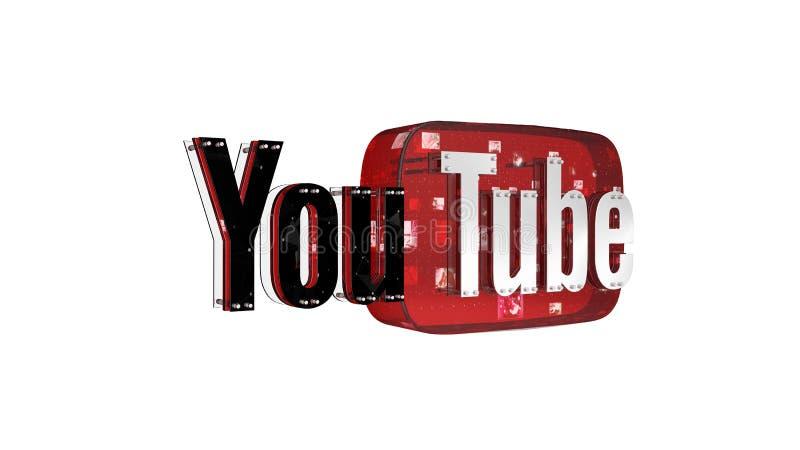 Il logo 3D della marca Youtube royalty illustrazione gratis