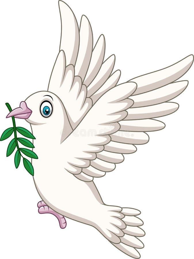 Il logo degli uccelli della colomba del fumetto per il concetto di pace e le nozze progettano illustrazione vettoriale