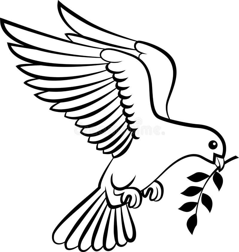 Il logo degli uccelli della colomba del fumetto per il concetto di pace e le nozze progettano illustrazione di stock