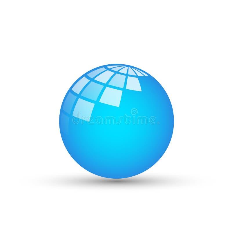 Il logo del globo e l'icona di rapporto nel logo blu di simbolo delle icone dell'elemento del wold progettano su fondo bianco royalty illustrazione gratis
