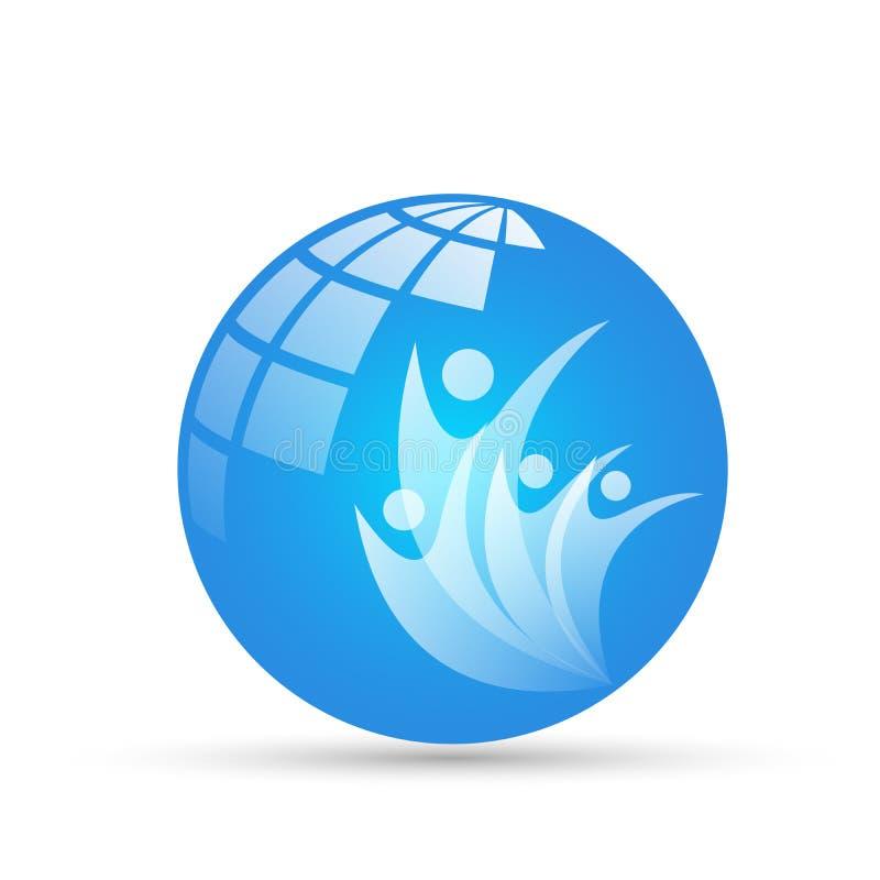 Il logo del globo ed il logo di simbolo delle icone dell'elemento dell'icona della gente dell'icona di rapporto progettano su fon illustrazione vettoriale