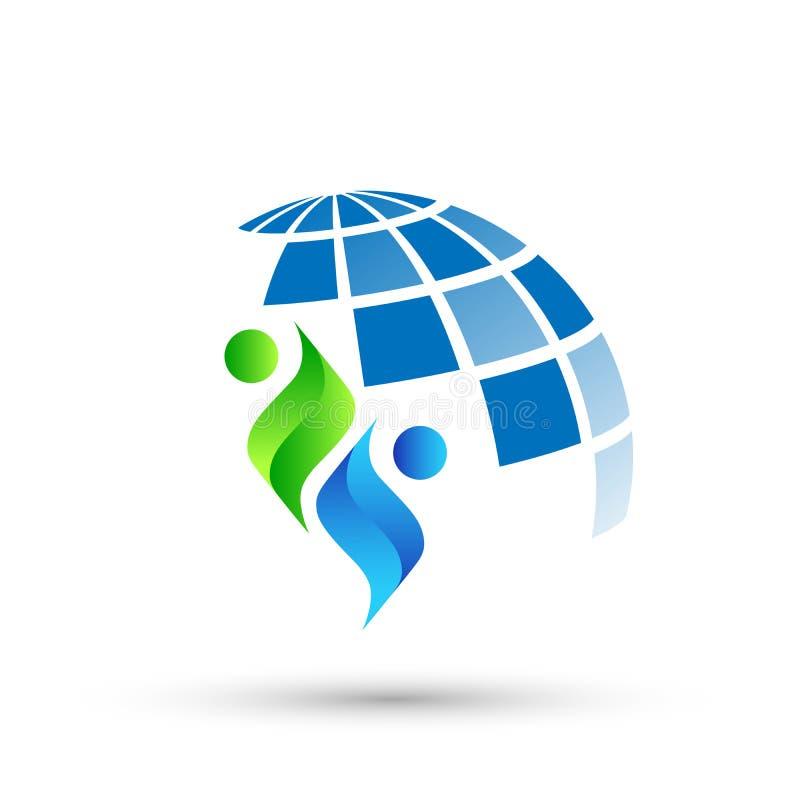 Il logo del globo ed il logo di simbolo delle icone dell'elemento dell'icona di rapporto della gente progettano su fondo bianco illustrazione vettoriale