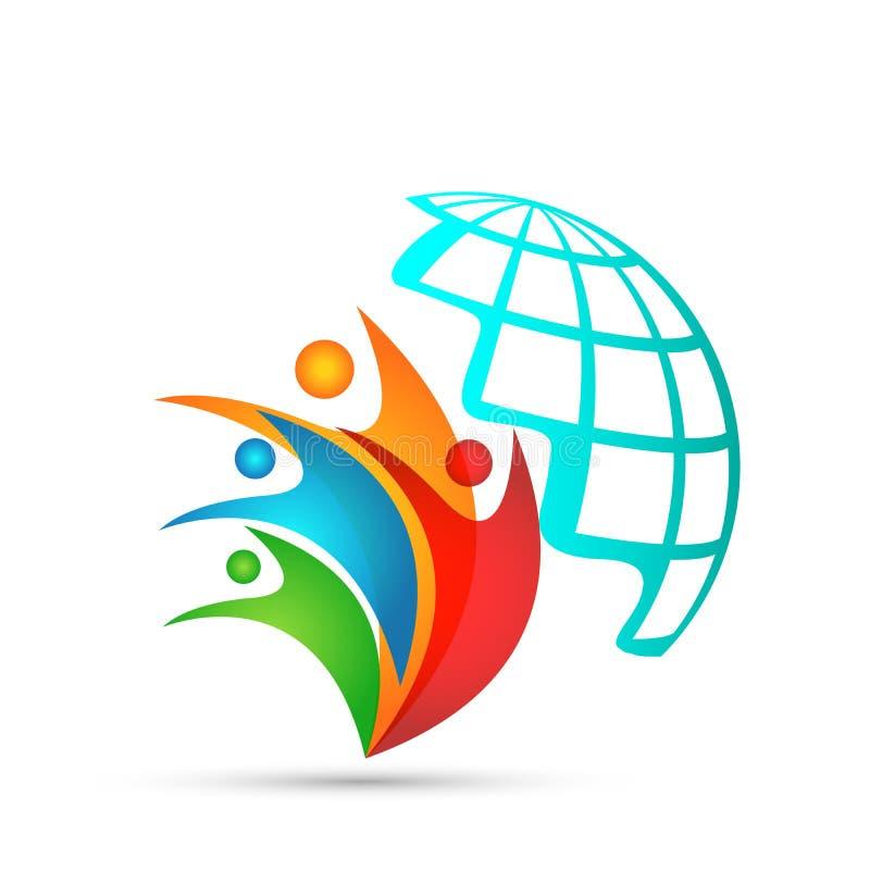 Il logo del globo ed il logo variopinto di simbolo delle icone dell'elemento dell'icona della gente dell'icona di rapporto proget illustrazione vettoriale