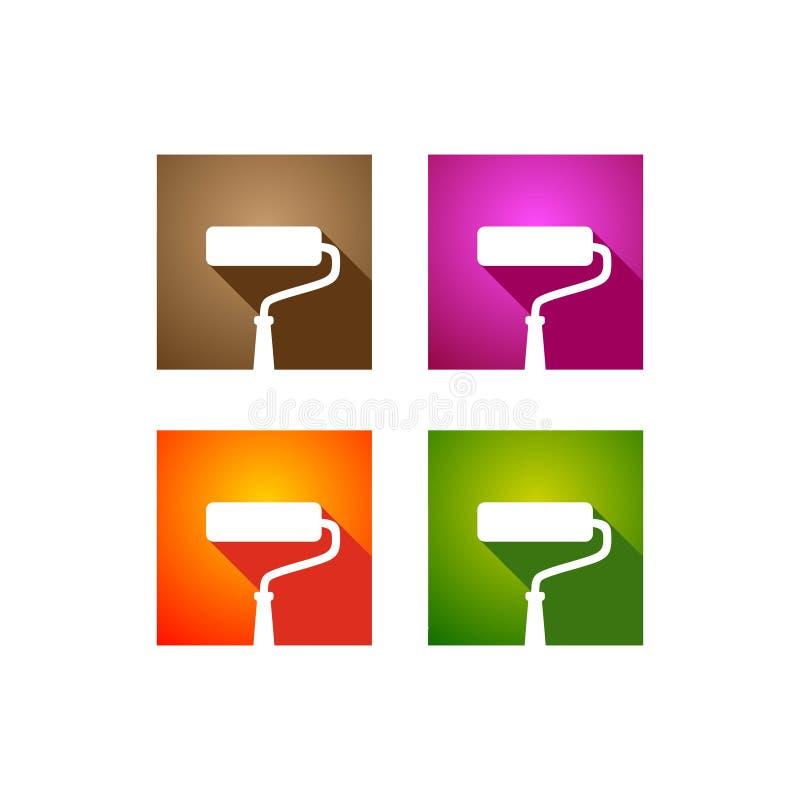 Il logo del rullo di pittura ha colorato royalty illustrazione gratis