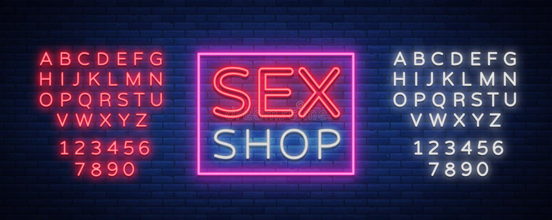 Il logo del sexshop, notte firma dentro lo stile al neon Insegna al neon, royalty illustrazione gratis