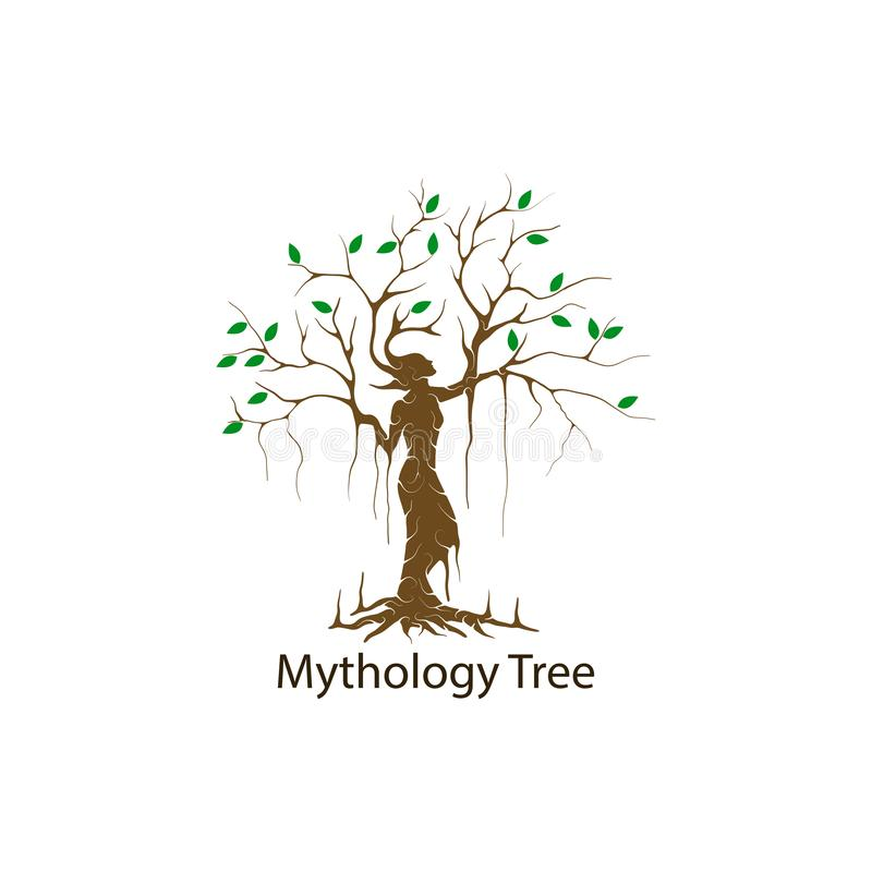 Il logo dell'albero di driadi ha isolato illustrazione di vettore dell'albero di mitologia fotografia stock libera da diritti