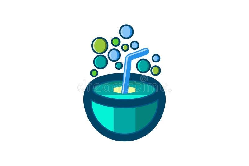 il logo della bolla e della noce di cocco progetta l'ispirazione isolata su fondo bianco illustrazione di stock