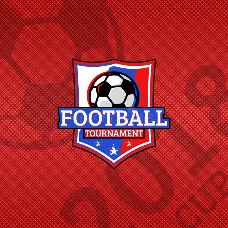 2018 il logo della tazza di calcio, palla di calcio sulla bandiera dei colori nazionali della Russia mette in mostra l'emblema, f illustrazione di stock