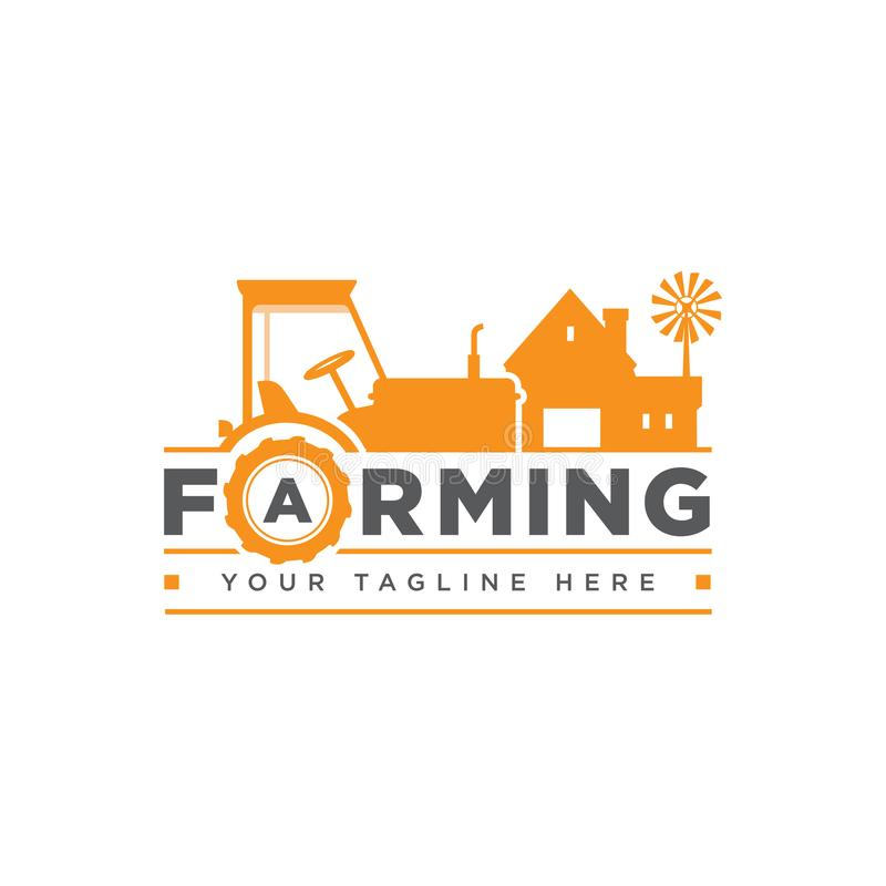 Il logo, il distintivo, l'etichetta con il trattore, la casa e l'acqua dell'azienda agricola torreggiano sollevando il fondo del  illustrazione di stock