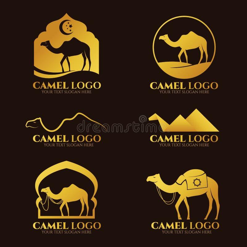 Il logo ed il segno del cammello dell'oro vector la progettazione stabilita royalty illustrazione gratis
