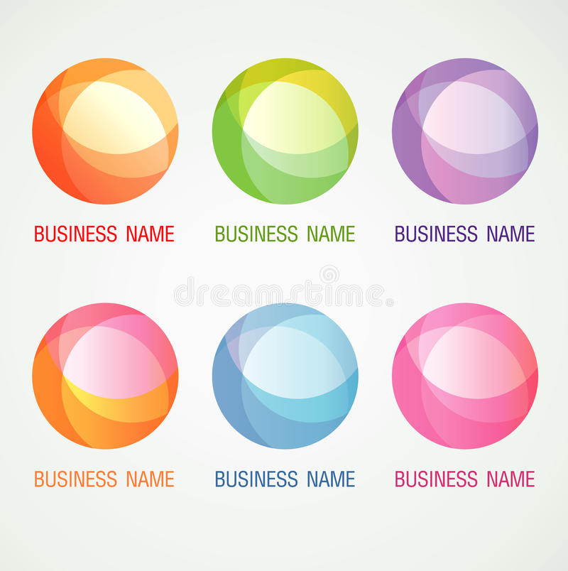 Il logo ed il simbolo progettano il concetto di colore della palla del cerchio immagine stock