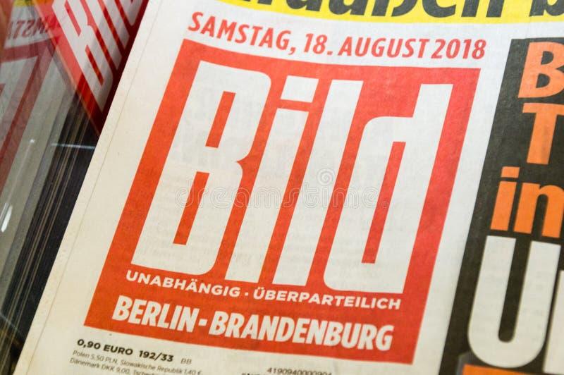 Il logo ed il segno del tabloid di Bild hanno pubblicato da Axel Springer AG immagine stock