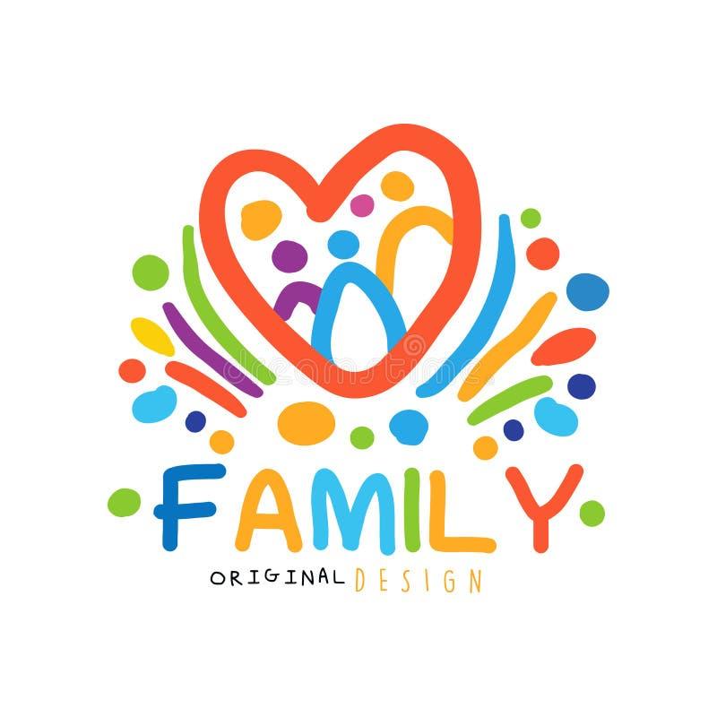 Il logo felice variopinto della famiglia con la gente astratta nel cuore modella illustrazione vettoriale