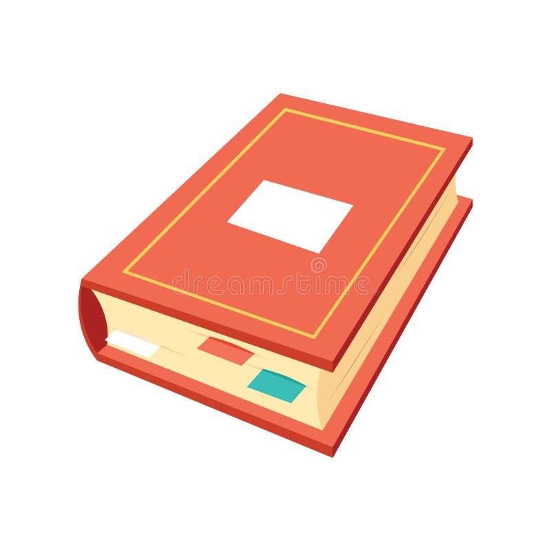 Il logo isometrico di simboli di istruzione dell'icona del libro ha isolato l'illustrazione piana di vettore di progettazione del illustrazione vettoriale