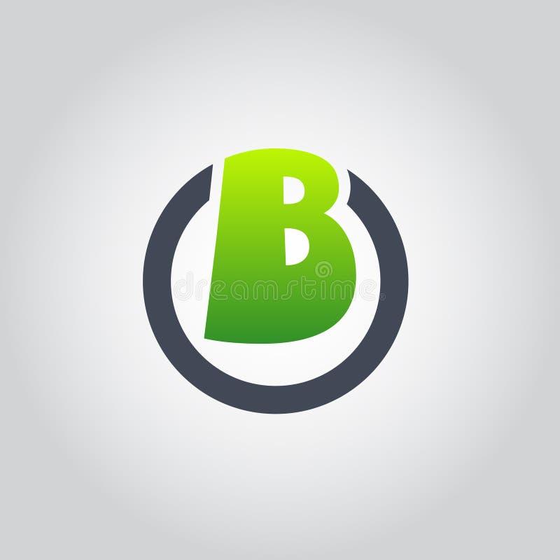Il logo la B dentro forma del cerchio, OB', BO, B della lettera iniziale dentro la O ha arrotondato il vettore verde e nero minus illustrazione vettoriale