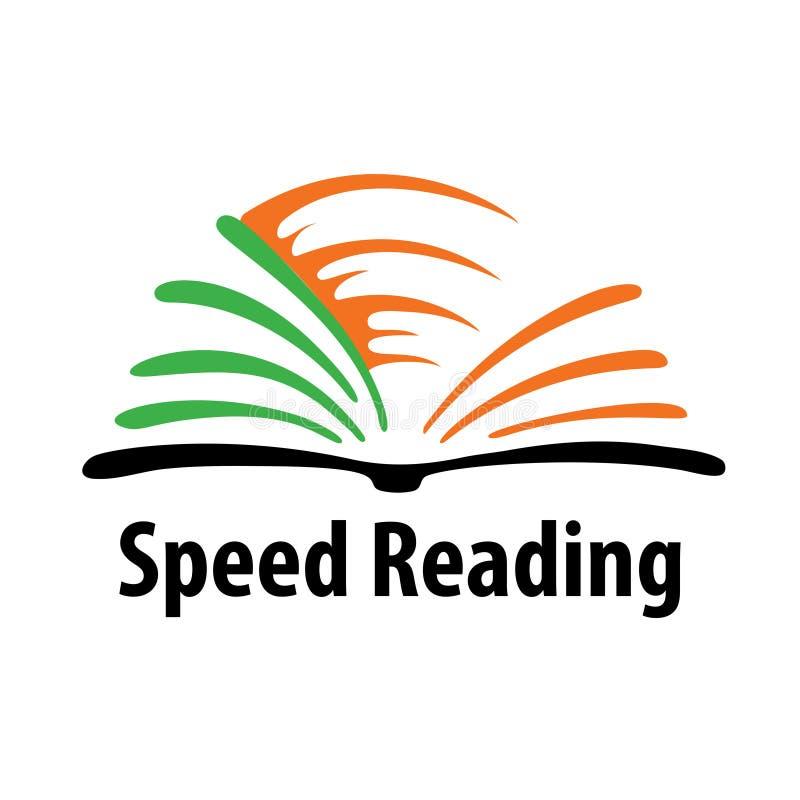 Il logo per i corsi di metodo di lettura rapida o le parole al minuto prova illustrazione di stock