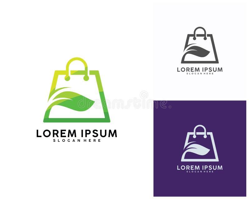 Il logo verde del negozio progetta il modello, illustrazione di vettore di logo del negozio della foglia illustrazione vettoriale