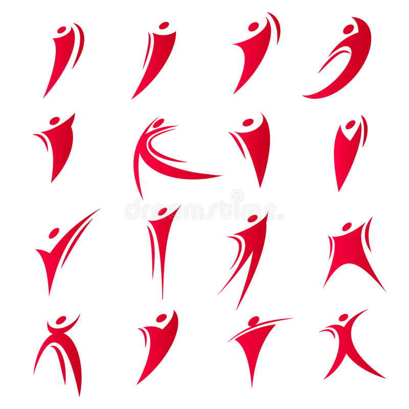 Il logos astratto isolato di unità della gente di colore rosso ha messo sull'illustrazione bianca di vettore del fondo illustrazione di stock