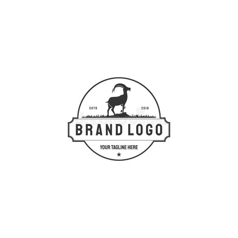 Il logos ed i distintivi dell'illustrazione di vettore coltivano il fondo isolato o bianco della capra Distintivi degli animali d illustrazione vettoriale