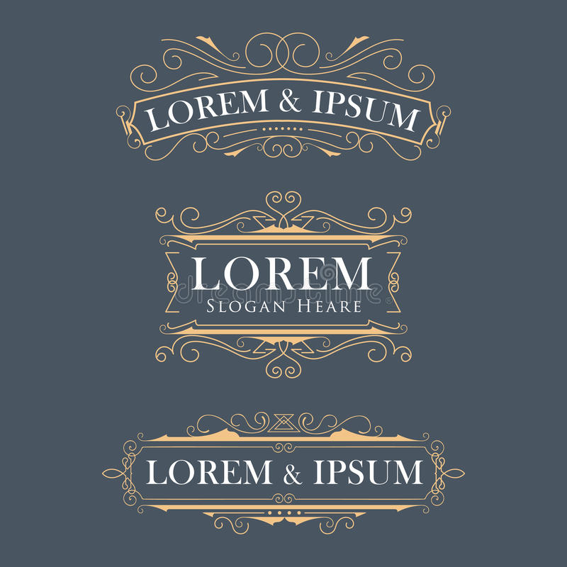 Il logos moderno di vettore della struttura di lusso della corona fiorisce il EL di calligrafia illustrazione vettoriale