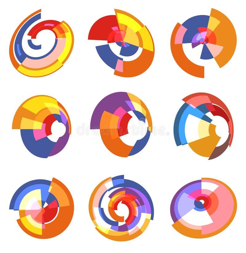 Il logos variopinto astratto isolato del diagramma a torta ha messo, raccolta dei logotypes del diagramma di forma rotonda, vetto royalty illustrazione gratis